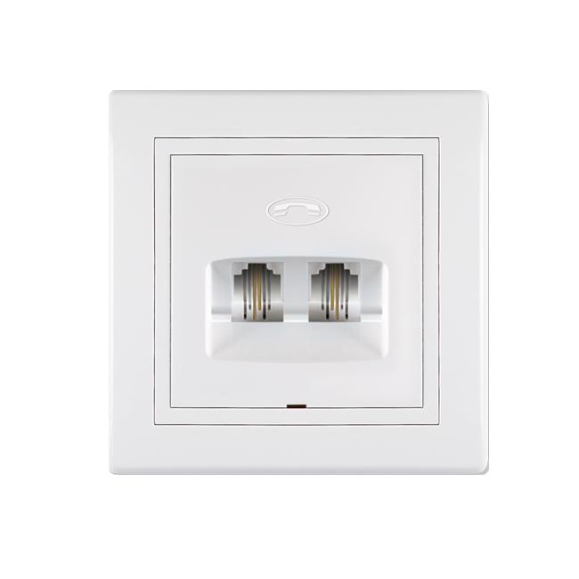 Elektroinstalacioni element tipa telefonske utičnice ugradnog tipa i bele boje.Koristi se za priključivanje telefonskih uređaja.Dva konektora tipa RJ12 6/4 sa četiri parice i mogućnošću povezivanja dve odvojene linije.Ugrađuje se u standardnu doznu prečnika 60mm ili gips-doznu prečnika 68mm.Namenjena za korišćenje u  unutrašnjim prostorijama.