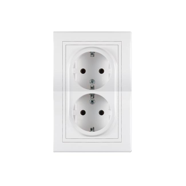 Priključnica dvopolna dupla bela 16a 250v604. | Uradi Sam Doo