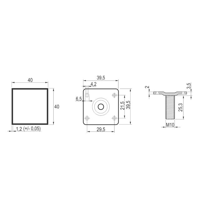 NOGICA AL. 40X40cm L10cm MAT