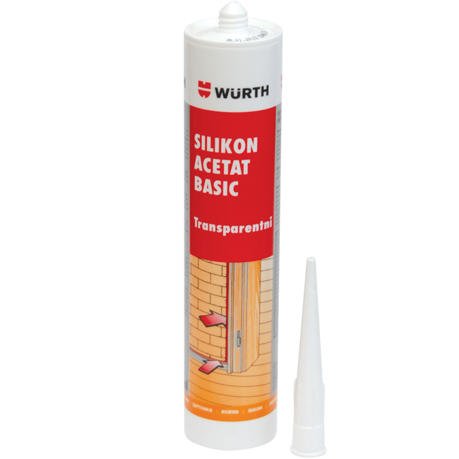 SILIKON ACETAT CRNI 280ML WURTH | Uradi sam