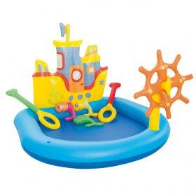 Bazen za decu Bestway Tug Boat Play Pool je bazen dizajniran u obliku broda. Poseduje ribarske rekvizite.